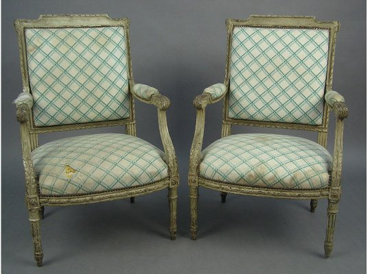 50101014: PR  LOUIS XVI  CARVED  PAINTED CHAIRS
