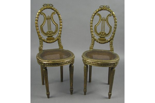 50101016: DIMINUTIVE PR OF GILTWOOD  FRENCH CHAIRS