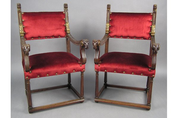 50101019: PAIR OF CONTINENTAL WALNUT OPEN ARM CHAIRS WI