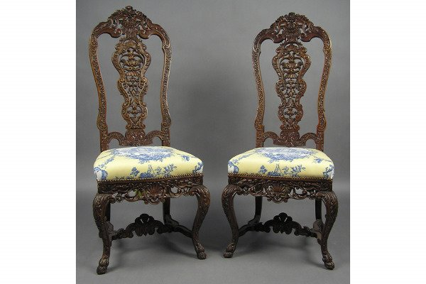 50101020: PROFUSELY CARVED HIGH BACK WALNUT CHAIRS