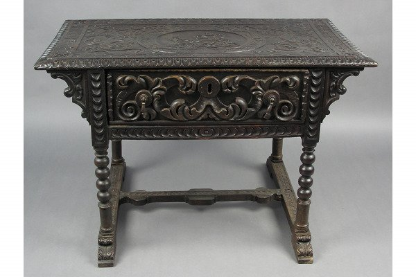 50101022: ITALIAN ONE DRAWER TABLE WITH CARVED TOP.  TH