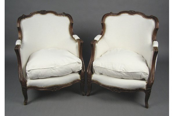 50101024: PAIR OF FRENCH  WALNUT BERGERE CHAIRS