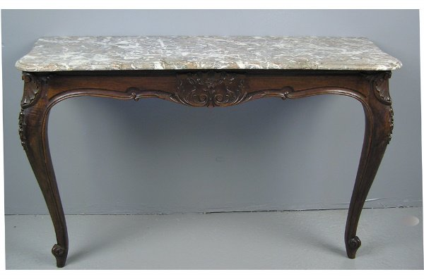 50101026: PAIR  FRENCH WALNUT MARBLE TOP CONSOLE TABLES