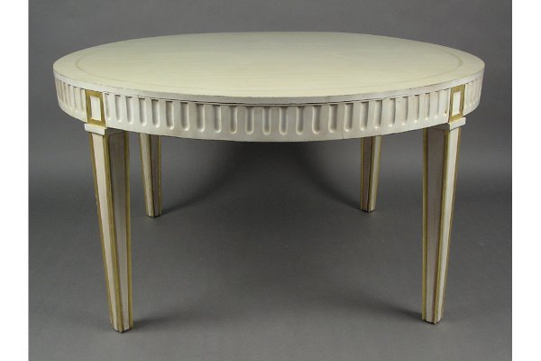 50101509: UNUSUAL ROUND GILTWOOD & IVORY PAINTED CENTER