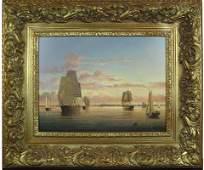 50105036: BRIAN COOLE (BRITISH BORN 1939) HARBOUR SUNSE