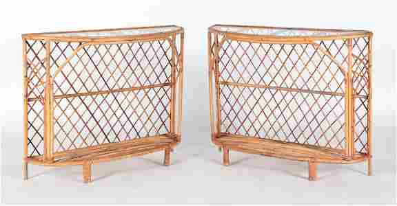 PAIR FRENCH RATTAN DEMILUNE CONSOLES MANNER ROYERE