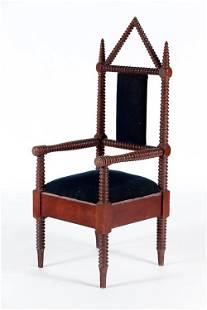 19TH C BOBIN TURNED GOTHIC STYLE ARMCHAIR