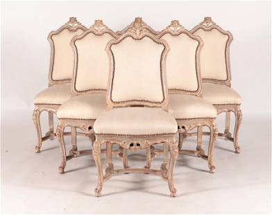6 CARVED PAINTED REGENCY STYLE UPHOLSTERED CHAIRS