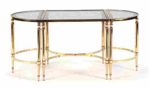FRENCH BRASS GLASS COFFEE TABLE DIRECTOIRE STYLE