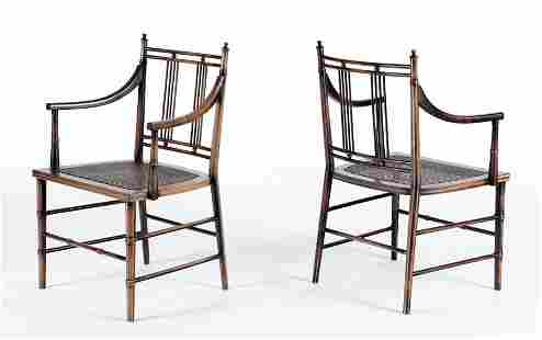 PAIR ENGLISH REGENCY STYLE CHAIRS BAMBOO TURNINGS