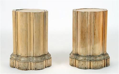 PAIR BLEACHED PINE CLUSTER COLUMN FORM PEDESTALS.