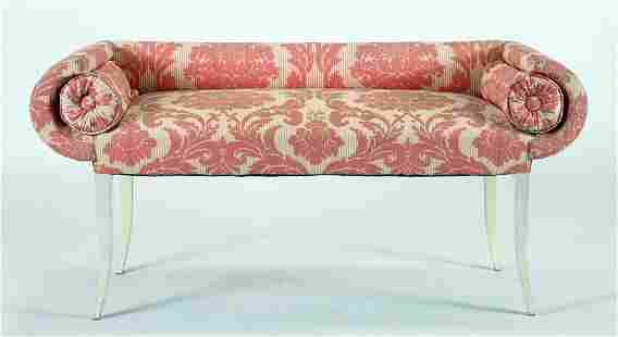 HOLLYWOOD REGENCY STYLE WINDOW BENCH, PAINTED LEGS