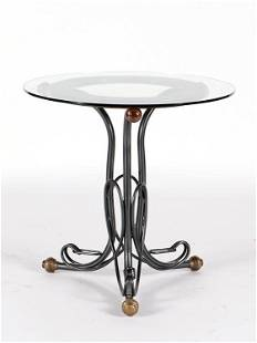 BRASS IRON GLASS TOP TABLE MANNER OF THONET