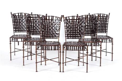 SET OF SIX GIACOMETTI STYLE IRON & LEATHER CHAIRS