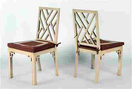 A PAINTED PAIR OF STYLIZED SIDE CHAIRS CIRCA 1940