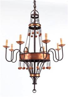 8 ARM IRON CHANDELIER WITH BALL DECORATION