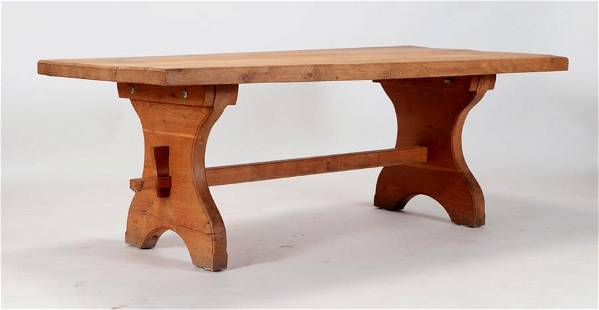 ARTS AND CRAFTS STYLE SLAB TOP OAK TABLE C.1950