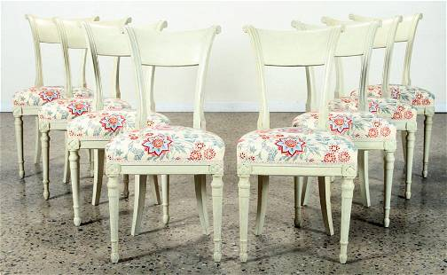 SET 8 DIRECTOIRE STYLE FRENCH DINING CHAIRS C.1930