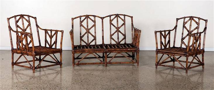 PAIR BAMBOO ARM CHAIRS AND MATCHING SETTEE 1960