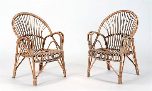 PAIR FRENCH RATTAN OPEN ARM CHAIRS C 1960