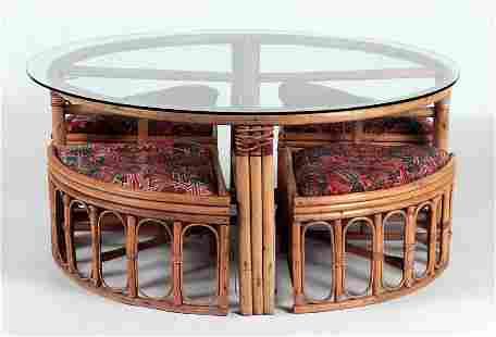 RATTAN GLASS COFFEE TABLE & 4 NESTING STOOLS 1960