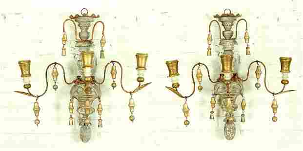 PAIR PAINTED AND GILT WOOD THREE ARM WALL SCONCES