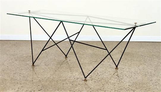 ITALIAN MID CENTURY MODERN IRON GLASS COFFEE TABLE