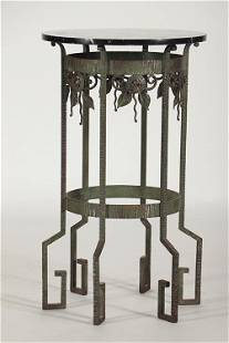 FRENCH WROUGHT IRON MARBLE TOP TABLE ROUS C1930