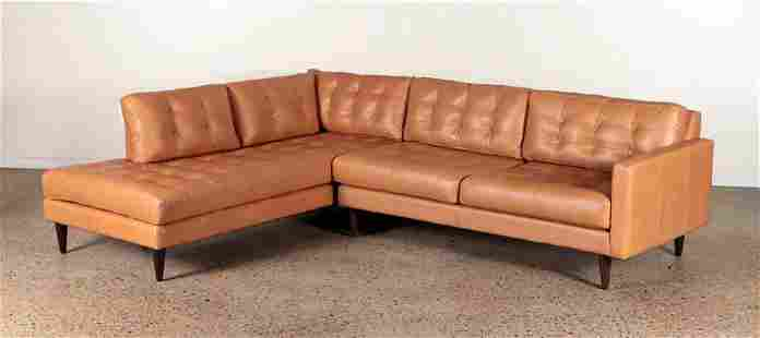 TWO PART MODERN LEATHER SECTIONAL SOFA BY ELLIOT