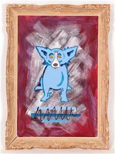 AFTER GEORGE RODRIGUE BLUE DOG ACRYLIC ON MASONITE
