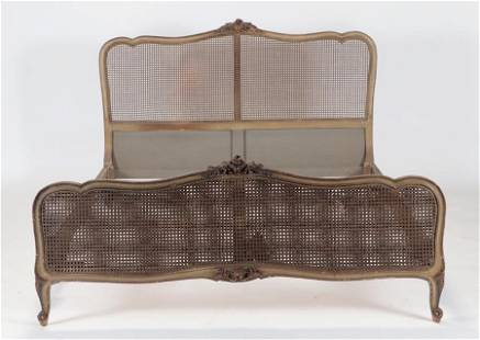 PAINTED CARVED QUEEN WITH LOUIS XV BED C 1930