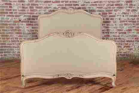 19TH C PAINTED AND CARVED FRENCH QUEEN SIZE BED