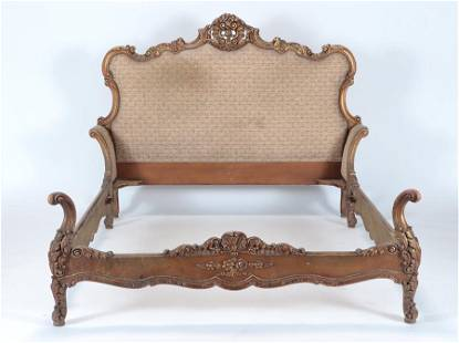 AN UNUSUAL GILT CARVED LOUIS XV FRENCH BED