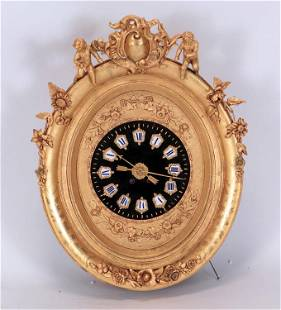 FRENCH CARVED GILT WOOD CLOCK AND MUSIC BOX C 1900