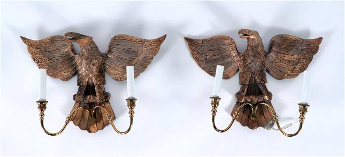 PAIR CARVED GILT WOOD EAGLE SCONCES BRASS ARMS