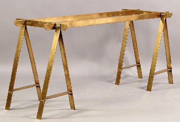 159: FRENCH MODERN BRONZE TABLE BASE SAWHORSE ENDS