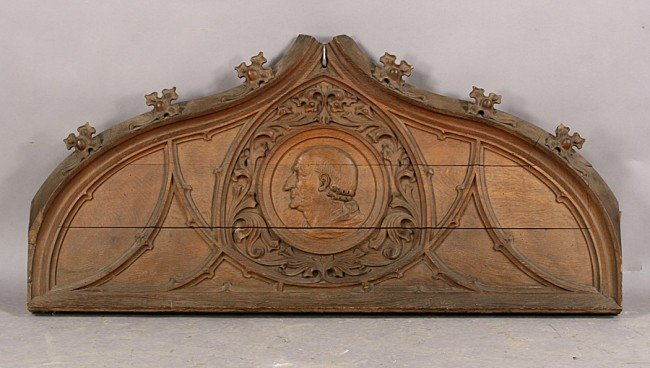 4: GREAT OAK GOTHIC CARVED PEDIMENT RELIEF C.1890