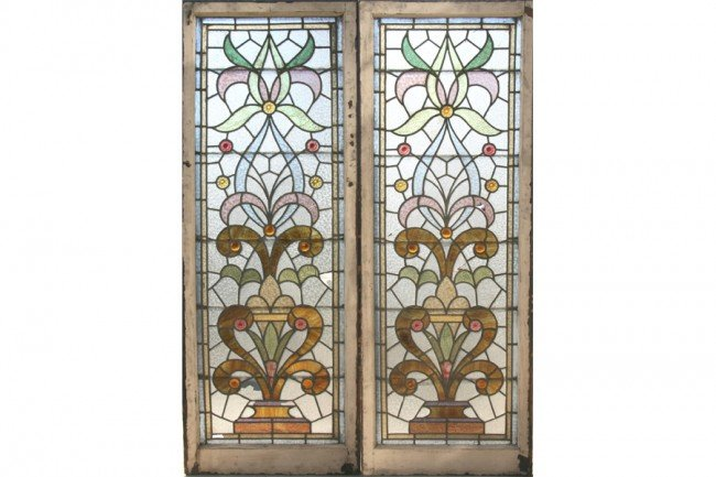 7: 2 ANTIQUE STAINED GLASS WINDOWS