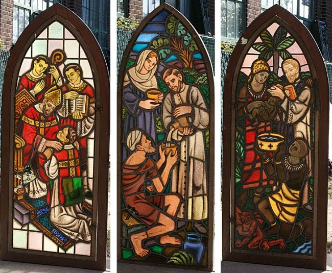 8: 3 PC LOT:  3 FIGURAL ARCHED STAINED GLASS WINDOWS