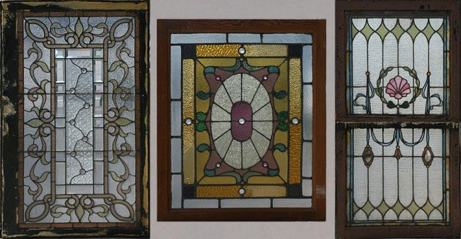 9: 3 PC LOT: 3 STAINED GLASS WINDOWS