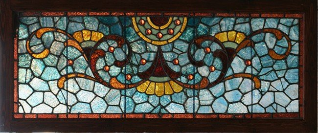 11: ANTIQUE VICTORIAN LARGE STAINED GLASS TRANSOME