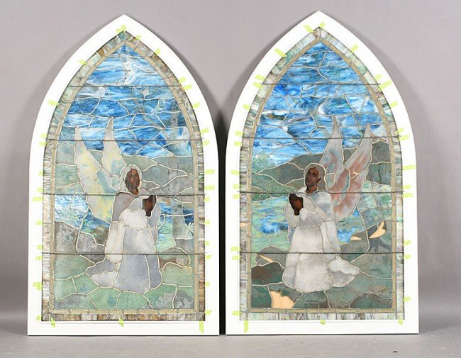 13: LOT 2 STAINED GLASS ARCHED TOP WINDOWS ANGELS