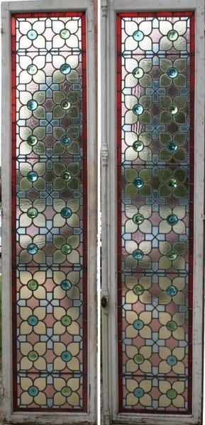 14: 6 EDWARDIAN ANTIQUE LEADED GLASS DOORS SCREEN