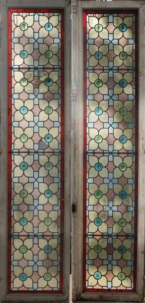 15: 2 ANTIQUE EDWARDIAN LEADED GLASS BOOKCASE DOORS