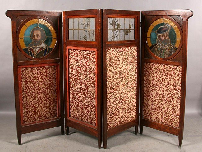 16: ANTIQUE EDWARDIAN MAHOGANY ROOM DIVIDER GLASS