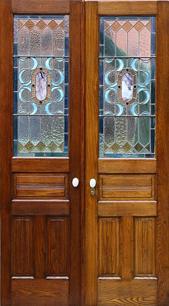 17: PAIR STAINED GLASS OAK DOORS AMETHYST COLOR JEWEL
