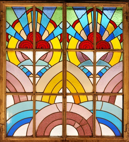 18: LG ART DECO LEADED GLASS WINDOW C.1930