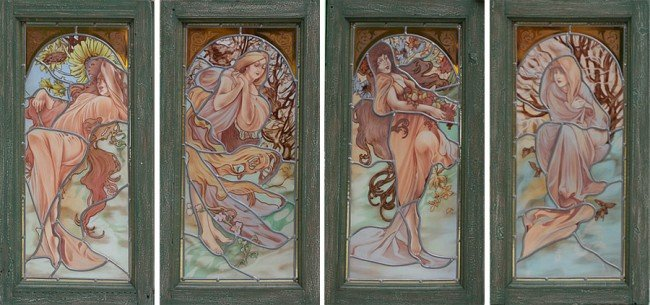 19: FOUR PAINTED STAINED GLASS ART NOUVEAU PANELS