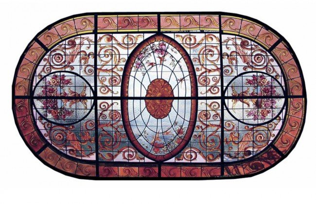 21: LARGE HANDPAINTED STAINED GLASS OVAL CEILING