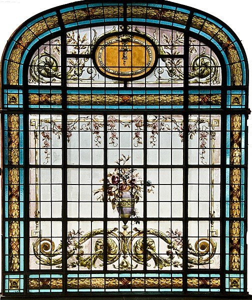 23: HANDPAINTED LEADED GLASS ANTIQUE LANDING WINDOW